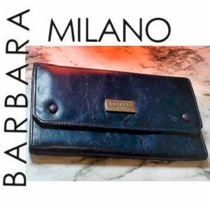 """BARBARA MILANO NAVY BLUE ITALY LEATHER WALLET 7.5"""""""